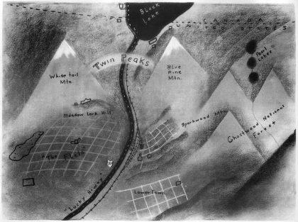 Carte de Twin Peaks dessinée par David Lynch